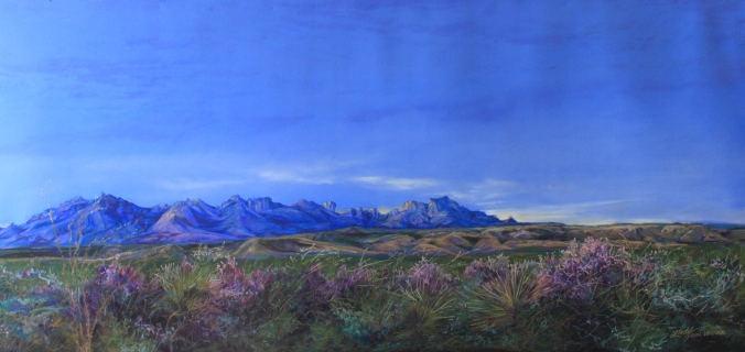 """Dawn Bloom"" 18"" x 38"" pastel c Lindy C Severns Fine Art                                                    Old Spanish Trail Studio, Fort Davis, Texas"