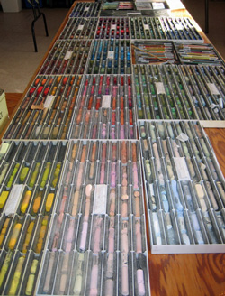 Pastel Sticks lined up in my studio