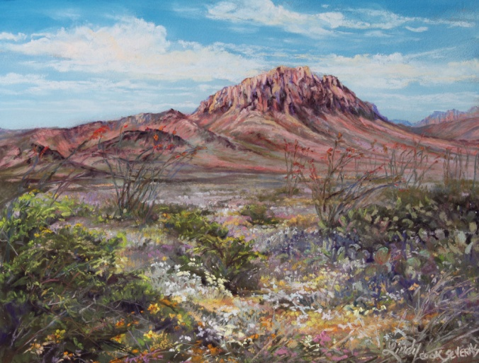 """Scents of the Desert"" 8"" x 10"" pastel by Lindy Cook Severns 2015. I painted this landscape from along the River Road through Big Bend Ranch State Park immediately after we spent time there, while the fragrance of the flowering desert still permeated my senses."