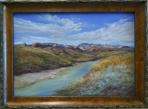 Snowy Peaks on the Rio Grande framed pastel painting at Midland Framing and Fine Arts Midland TX