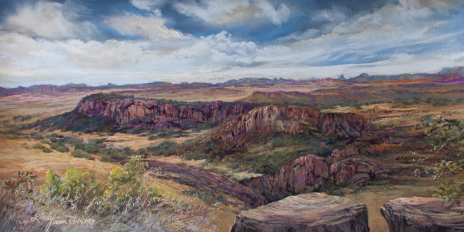 "FORT DAVIS in DAYS GONE BY is a 10"" x 20"" pastel landscape painting showing the view from an overlook high in the Davis Mountains State Park in Far West Texas by Texas artist Lindy Cook Severns"