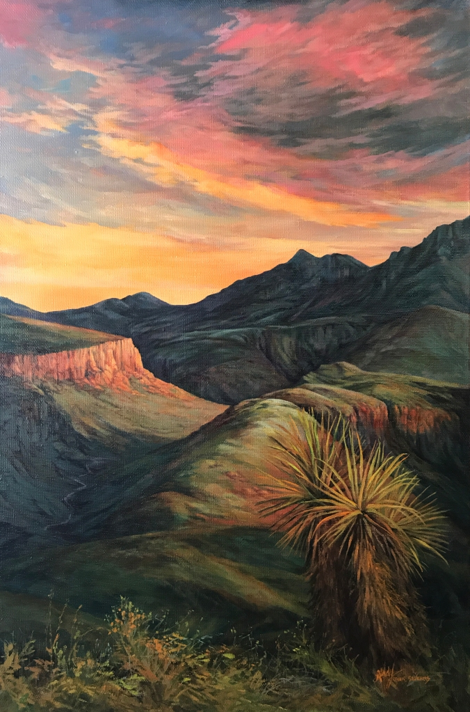 Sunset on Land Untamed 36x24 oil Lindy C Severns web
